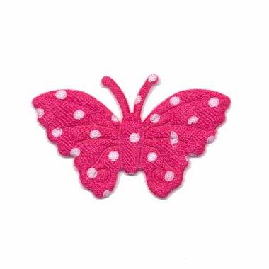 Applicatie vlinder fuchsia met witte stippen satijn middel 40 x 25 mm (ca. 100 stuks)