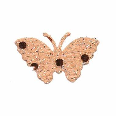 Applicatie glitter vlinder oranje/zalm middel 40 x 25 mm (ca. 100 stuks)