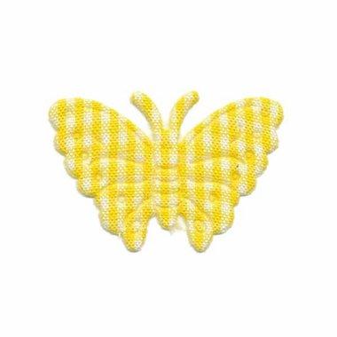 Applicatie geruite vlinder geel-wit middel 40 x 25 mm (ca. 100 stuks)