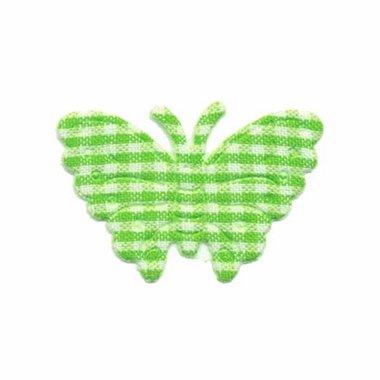 Applicatie geruite vlinder groen-wit middel 40 x 25 mm (ca. 100 stuks)