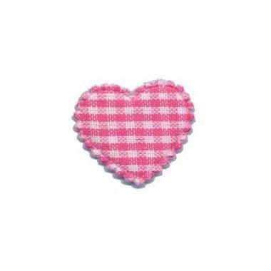 Applicatie ruitjes hart fuchsia klein 25 x 20 mm (ca. 100 stuks)