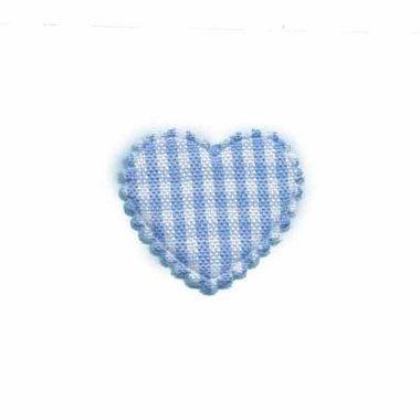 Applicatie ruitjes hart licht blauw klein 25 x 20 mm (ca. 100 stuks)
