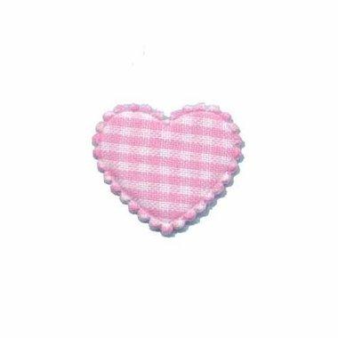 Applicatie ruitjes hart roze klein 25 x 20 mm (ca. 100 stuks)