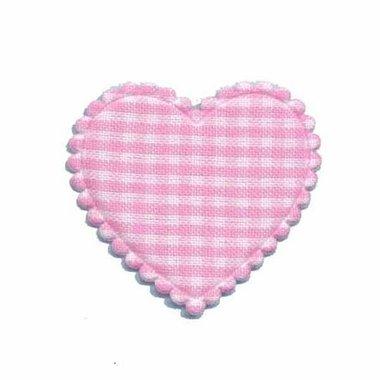 Applicatie ruitjes hart roze middel 35 x 30 mm (ca. 100 stuks)