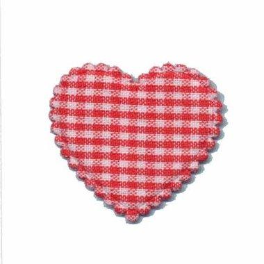 Applicatie ruitjes hart rood middel 35 x 30 mm (ca. 100 stuks)