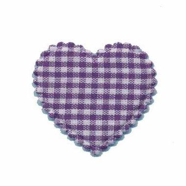 Applicatie ruitjes hart paars middel 35 x 30 mm (ca. 25 stuks)