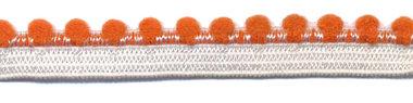 Wit-donker oranje elastiek met bolletjes sierrand 12 mm (ca. 10 meter)