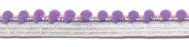 Wit-lila elastiek met bolletjes sierrand 12 mm (ca. 10 meter)