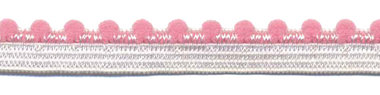Wit-roze elastiek met bolletjes sierrand 12 mm (ca. 10 meter)