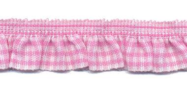 Roze-wit geruite roezel elastiek 19 mm (ca. 10 meter)