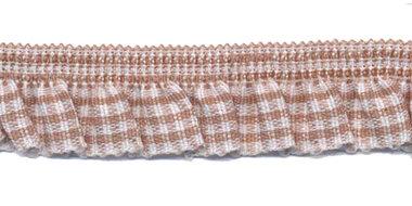 Khaki-wit geruite roezel elastiek 19 mm (ca. 10 meter)