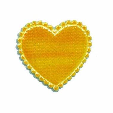 Applicatie glim hart geel middel 35 x 30 mm (ca. 100 stuks)