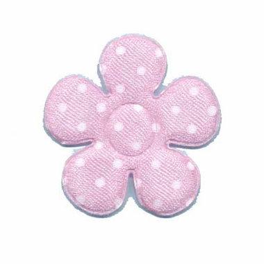 Applicatie bloem roze met witte stippen satijn middel 35 mm (ca. 25 stuks)