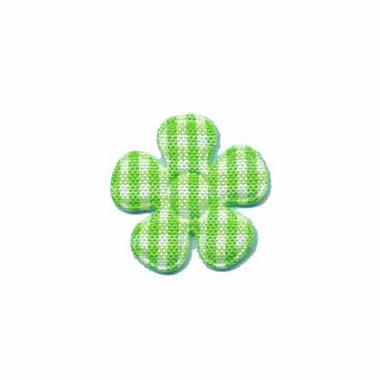 Applicatie geruite bloem groen-wit klein 20 mm (ca. 100 stuks)