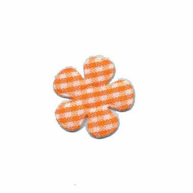 Applicatie geruite bloem oranje-wit klein 20 mm (ca. 100 stuks)
