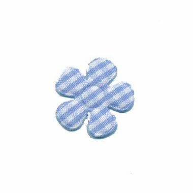 Applicatie geruite bloem licht blauw-wit klein 20 mm (ca. 100 stuks)