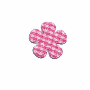 Applicatie geruite bloem fuchsia-wit klein 20 mm (ca. 25 stuks)