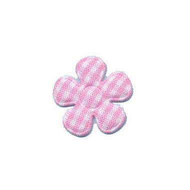 Applicatie geruite bloem roze-wit klein 20 mm (ca. 100 stuks)