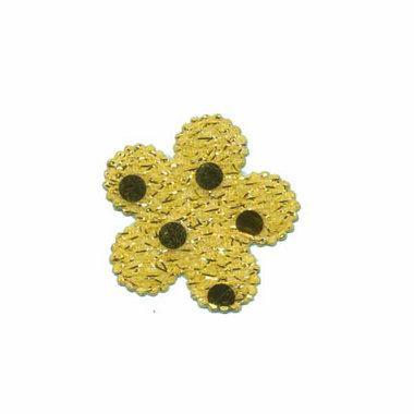 Applicatie glitter bloem geel/goud klein 25 mm (ca. 25 stuks)