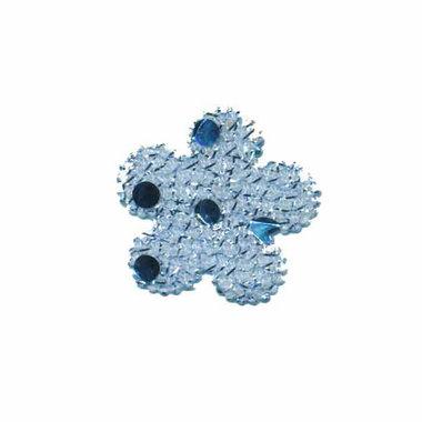 Applicatie glitter bloem blauw klein 25 mm (ca. 100 stuks)