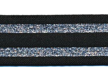 Elastiek gestreept zwart met zilver lurex 30 mm (ca. 15 m)