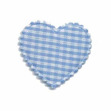 Applicatie ruitjes hart licht blauw middel 35 x 30 mm (ca. 100 stuks)