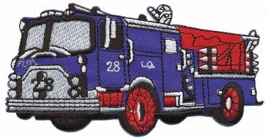 Opstrijkbare applicatie brandweerauto blauw (5 stuks)