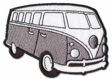 Opstrijkbare applicatie 'VW bus' grijs (5 stuks)
