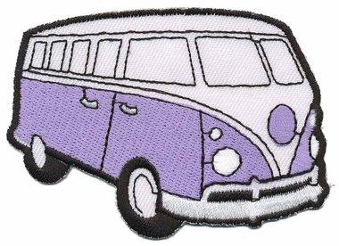 Opstrijkbare applicatie 'VW bus' lila (5 stuks)