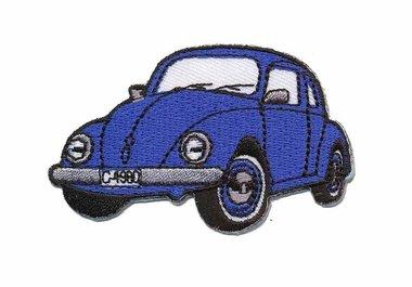 Opstrijkbare applicatie auto 'VW Kever' blauw klein (5 stuks)