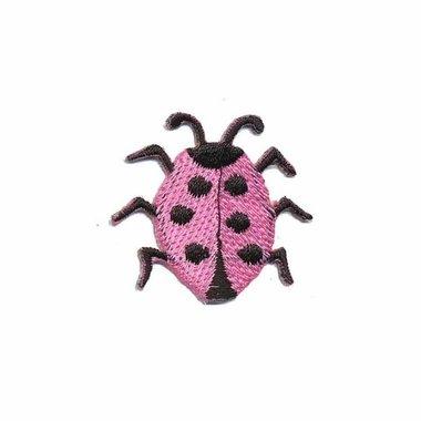 Opstrijkbare applicatie lieveheersbeestje roze (5 stuks)