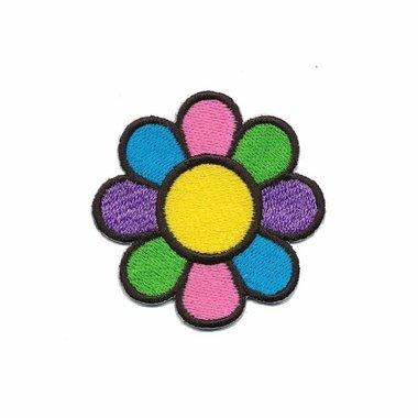 Opstrijkbare applicatie gekleurde bloem KLEIN (5 stuks)