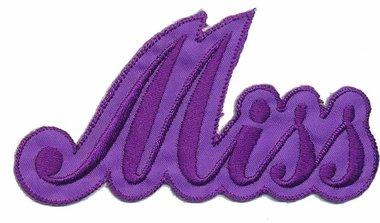 Opstrijkbare applicatie 'Miss' paars (5 stuks)