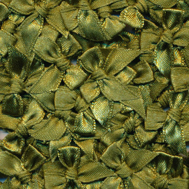 Satijnen strikjes legergroen (ca. 100 stuks)