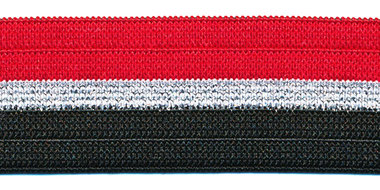 Elastiek gestreept rood-zilver lurex-zwart 25 mm (ca. 25 m)