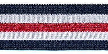 Elastiek gestreept donkerblauw-wit met rood lurex 25 mm (ca. 25 m)