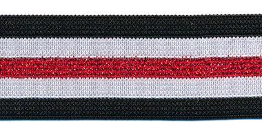 Elastiek gestreept zwart-wit met rood lurex 25 mm (ca. 25 m)