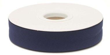 Donker blauw gevouwen biaisband 20 mm (20 meter)