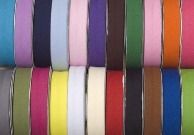 Set: 22 kleuren gevouwen biaisband 20 mm (ca. 440 meter)