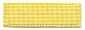 Haarkniphoesje geel-wit geruit 5 cm rechthoekig (ca. 100 stuks)