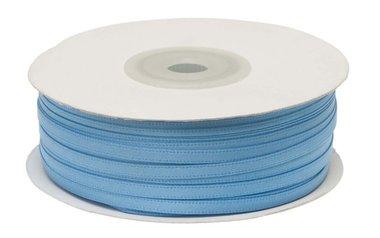 Licht blauw dubbelzijdig satijnband 4 mm (ca. 90 m)