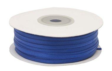 Kobalt blauw dubbelzijdig satijnband 4 mm (ca. 90 m)