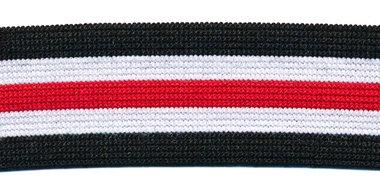 Elastiek gestreept zwart-wit-rood-wit-zwart 25 mm (ca. 25 m)