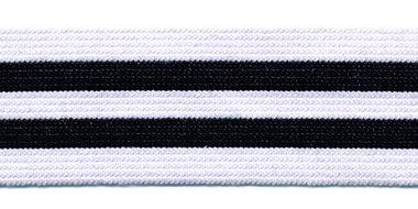 Elastiek gestreept wit-zwart-wit-zwart-wit 25 mm (ca. 25 m)