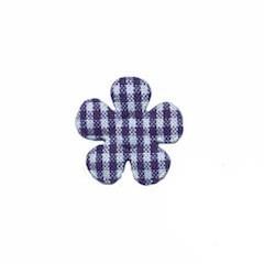 Applicatie geruite bloem donker blauw-wit klein 20 mm (ca. 100 stuks)