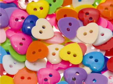 Hartvormig knoopje MIX kleuren ca. 13x13 mm (ca. 200 stuks)