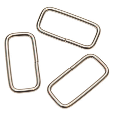 Metalen passant rechthoekig zilverkleurig 38 mm (ca. 25 stuks)