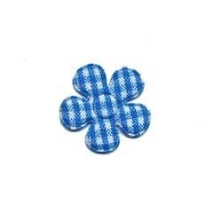 Applicatie geruite bloem aqua-wit klein 20 mm (ca. 100 stuks)