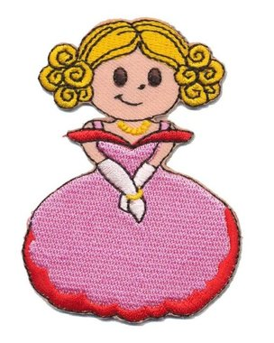 Opstrijkbare applicatie prinsesje in roze jurk (5 stuks)
