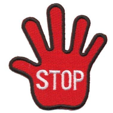 Opstrijkbare applicatie STOP hand rood (5 stuks)